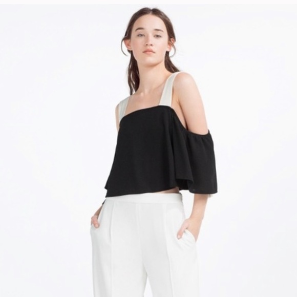 Zara Tops - Zara black top with silk style straps